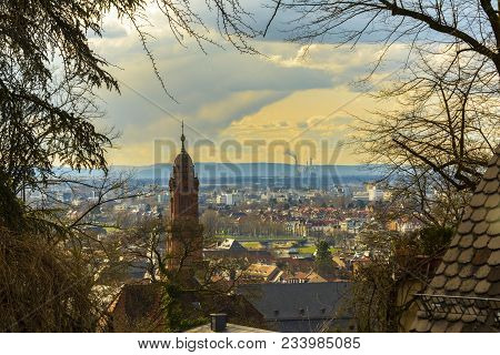 Gorgeous Cityscape View With The Church Of The Holy Spirit And Old City On March 31, 2018 In Heidelb