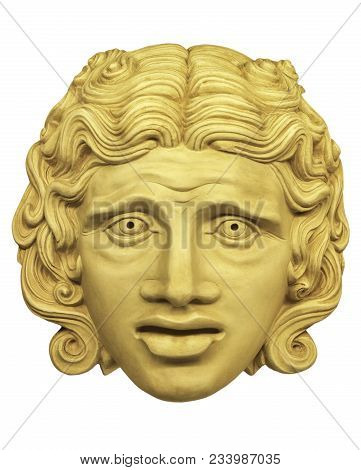 Gypsum Theatrical Mask Roman Times Isolated On White