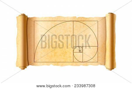 Old Textured Papyrus Scroll With Golden Ratio Proportions Scheme Isolated On White