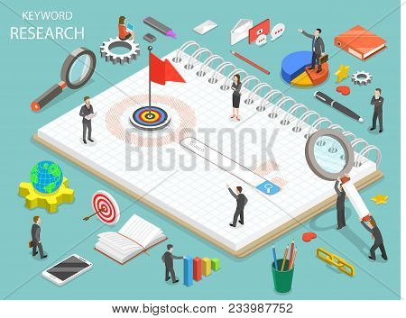Keyword Research Flat Isometric Vector Concept. Team Of Colleagues Are Standing Around The Search Li