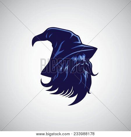 Wizard, Sorcerer Logo Design Mascot Vector Illustration Icon