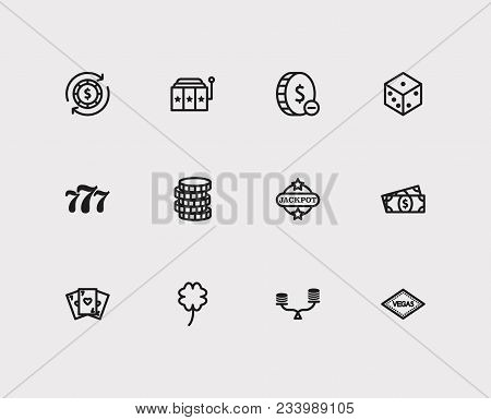 Casino Icons Set. Gamble Risk And Casino Icons With Gamble Play, Coin And Cash Money. Set Of Element