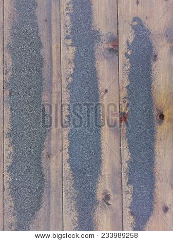 Sand On Planked Wood Summer Background Top View. Close Up Wooden Beach Path Texture With Sand As Bac