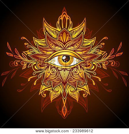Abstract Symbol Of All-seeing Eye In Boho Indian Asian Ethnic  Style In Yellow Gold Brown For Decora