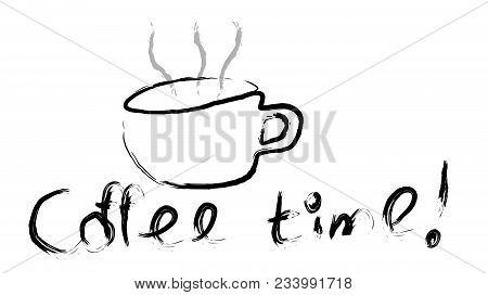 Black Cup Of Invigorating Tasty Hot Brown Coffee Hand-drawn Paint With A Beautiful Steam And Coffee