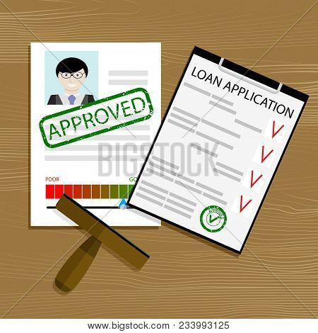 Approved Loan Application. Financial Credit Form, Mortgage Contract Document Approval, Vector Illust