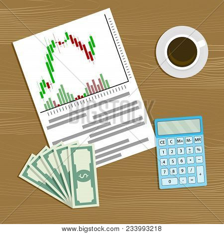 Playing Stock Market. Vector Financial Business Investment, Economy Growth, Candlestick Chart And Ba