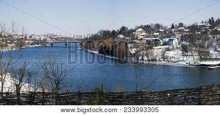 Southern Bug River In Spring But The Banks Are Still Covered With Snow (ukraine, Vinnitsa)