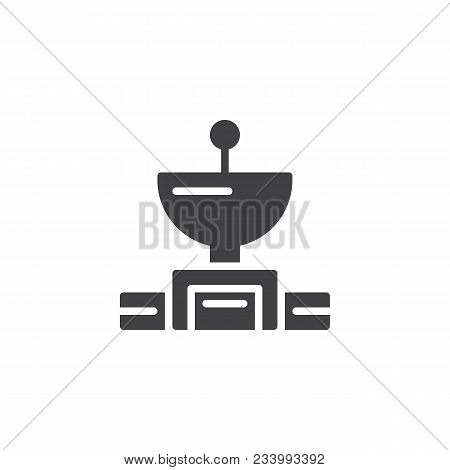 Satellite Dish Antenna Vector Icon. Filled Flat Sign For Mobile Concept And Web Design. Radio Astron