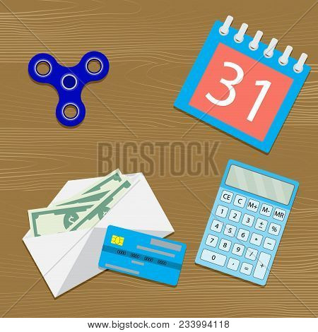 Salary On Table. Vector Money In Envelope, Calendar And Calculation Wage In Office Illustration