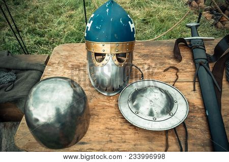 Medieval Scene. Medieval Knight Attributes. Reconstruction Of Medieval Life.