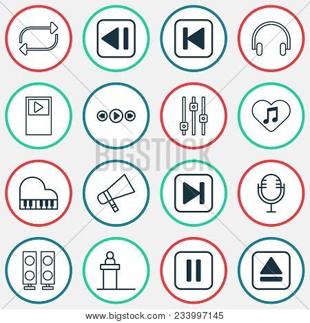 Music Icons Set With Fast Forward Song, Megaphone, Musical Device And Other Last Song Elements. Isol