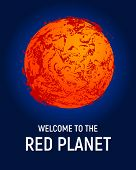 Futuristic space planet poster background. Textured cosmic celestial body in deep blue sky. Cosmic party banner template. Vector illustration. Planet Mars exploration concept vector. poster