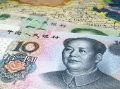 Chinese renminbi. Yuan banknotes on the map of China poster
