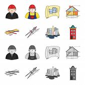 Drawing accessories, metropolis, house model. Architecture set collection icons in cartoon, monochrome style vector symbol stock illustration . poster