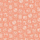 Seamless pattern with healthy diet outline, linear icons. Healthy and rational lifestyle concept background poster