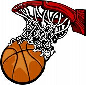 Cartoon Image of a Basketball Shooting through the Rim and Net poster
