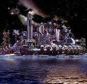 3D Illustration of a nightscape futuristic city, with modular architecture, water floating transport structures, for science fiction and fantasy backgrounds, in ultra violet the 2018 color of the year. poster
