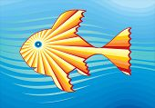 Symbolic Drawing. The sun on the silhouette of fish poster