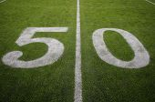 "The Fifty Yard line or ""Midfield"" at Gillette Stadium, home of the 3 time Superbowl Winning New England Patriots. poster"
