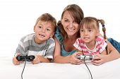 Happy family - mother and child playing a video game poster