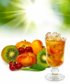 Image Of Cocktail And Fruit  On Green Closeup