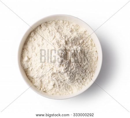 Bowl Of Flour Isolated On White Background, Top View