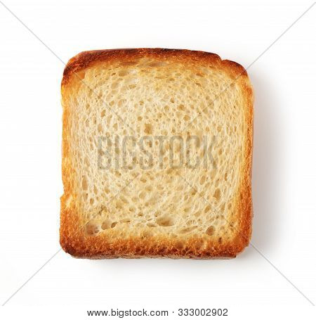 Toasted Bread Isolated On White Background, Top View