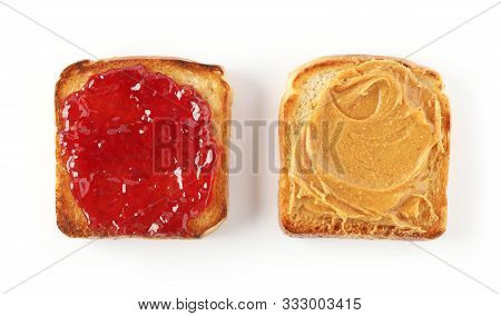 Toasted Bread With Peanut Butter And Jam Isolated On White Background, Top View