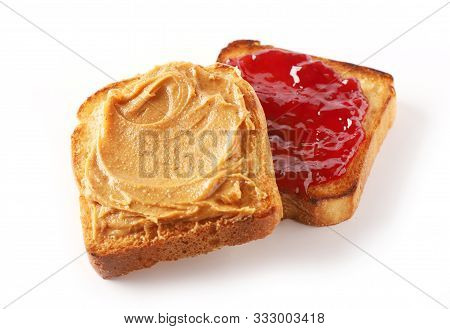 Toasted Bread With Peanut Butter And Jam Isolated On White Background