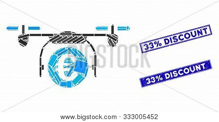Mosaic Euro Quadcopter Payment Pictogram And Rectangle Watermarks. Flat Vector Euro Quadcopter Payme