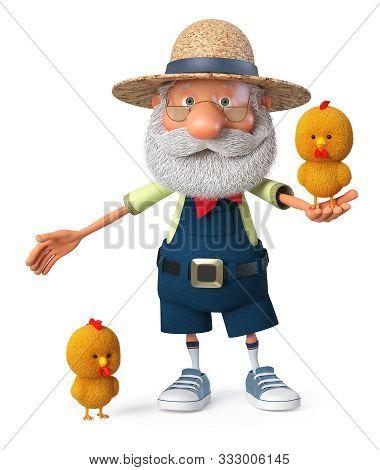 3d Illustration Grandpa Peasant Posing In Overalls On Farm