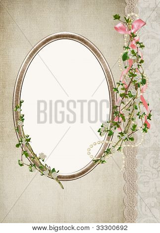 Floral branch bouquet on frame