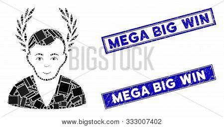 Mosaic Man Glory Pictogram And Rectangular Stamps. Flat Vector Man Glory Mosaic Pictogram Of Randomi