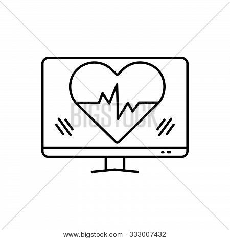 Black Line Icon For Ehealth Healthcare Heartbeat Heart Online