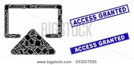 Mosaic Enter Pictogram And Rectangle Seal Stamps. Flat Vector Enter Mosaic Pictogram Of Random Rotat