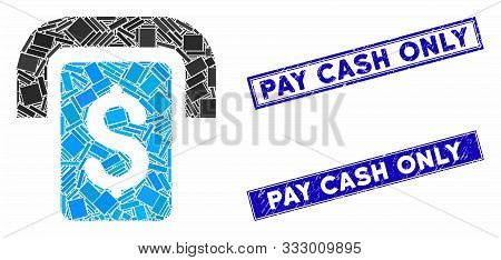 Mosaic Cashpoint Icon And Rectangle Seal Stamps. Flat Vector Cashpoint Mosaic Pictogram Of Scattered