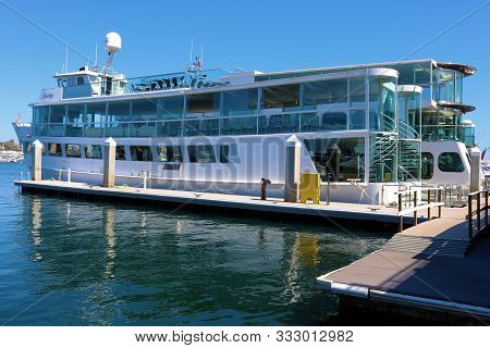 August 25, 2019 In Newport Harbor, Ca:  Luxury Docked Tour Boat Rented Out For Catered Events With V