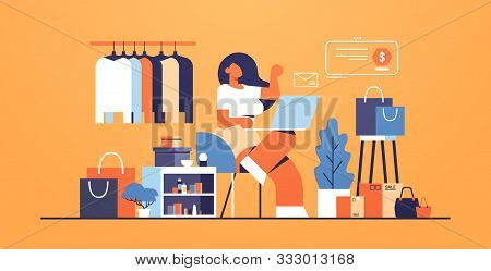Woman With Laptop Using Computer Application Online Shopping Concept Big Fashion Shop Female Clothes