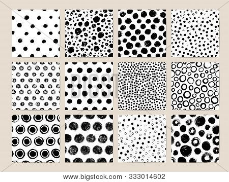 Circle Ink Brush Strokes Vector Seamless Patterns Set. Black Charcoal Scribbles And Spots Textures.