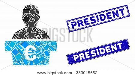 Mosaic Euro Politician Icon And Rectangular Seal Stamps. Flat Vector Euro Politician Mosaic Icon Of