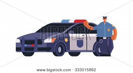 Male Police Officer Standing Near Patrol Car Policeman In Uniform Security Authority Justice Law Ser