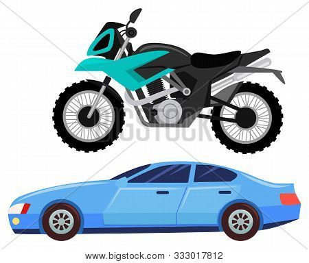 Sport Car Isolated Transportation. Vehicle Transport Of Cool Modern Type And Shape. Motorbike And Bi