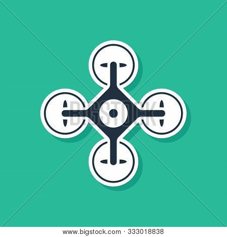 Blue Drone Flying With Action Video Camera Icon Isolated On Green Background. Quadrocopter With Vide