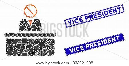 Mosaic Stupid Clerk Pictogram And Rectangle Seal Stamps. Flat Vector Stupid Clerk Mosaic Pictogram O