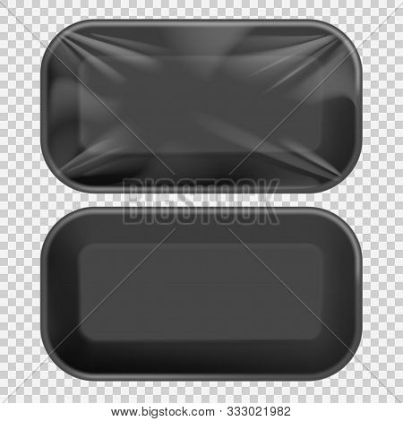 Black Styrofoam Food Tray Pack With Film And Label For Branding. Template For Mock Up Your Design. V