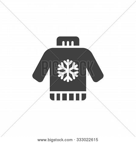 Christmas Sweater Vector Icon. Filled Flat Sign For Mobile Concept And Web Design. Sweater With Snow