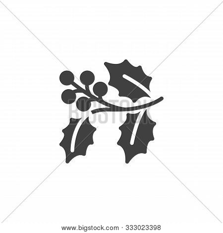 Holly Berry Branch Vector Icon. Filled Flat Sign For Mobile Concept And Web Design. Christmas Holly