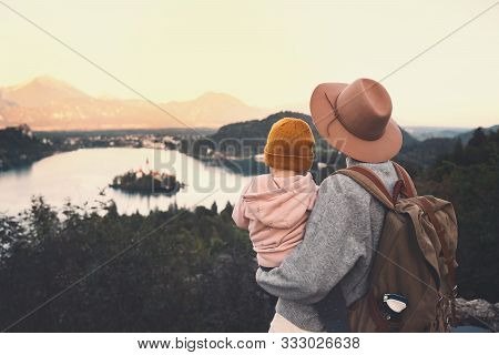 Journey Slovenia With Kids. Family Travel Europe. Mother With Child Looking On Bled Lake Among Natur