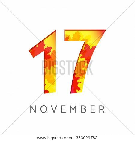 17 Th Of November Calendar Numbers. 17 Years Old Autumn Logotype. Anniversary Digits With Leaves. Is